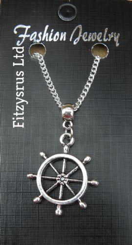 "18"" 24"" Inch Chain Necklace & Boat Wheel Rudder Pendant Charm - Ship Sailor Navy"